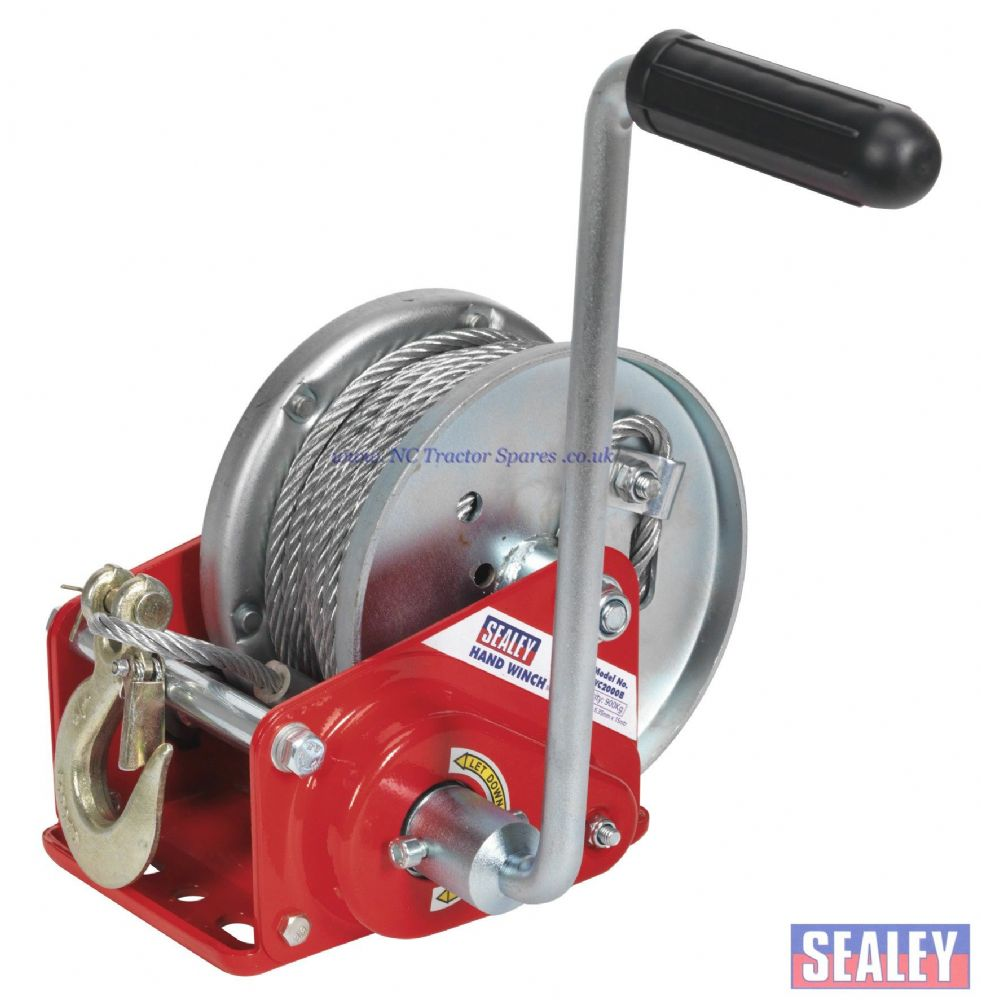 Geared Hand Winch with Brake & Cable 900kg Capacity